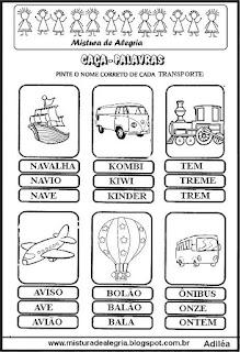 Caça-palavras com nome de transportes