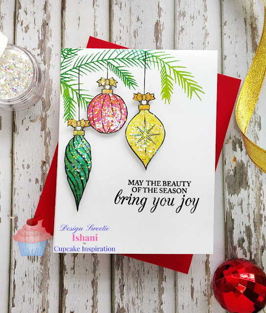 CIC, DRS designs Triple hanging christmas ornaments, Christmas ornament card, Christmas glitter card,, Christmas card, Crayon technique, Digital stamp, Quillish,