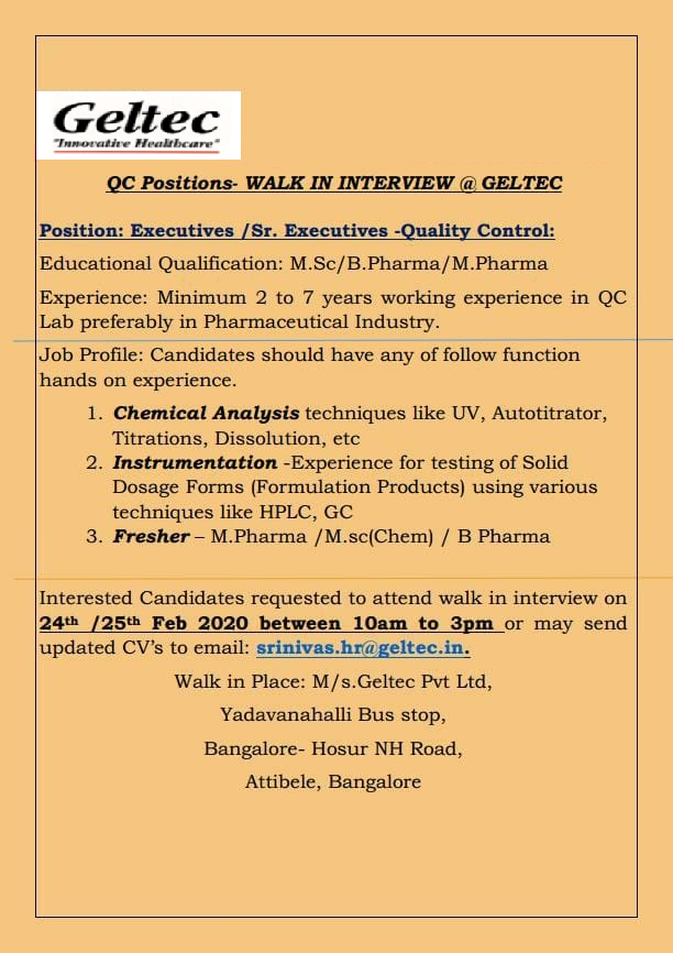 Geltec Pvt. Ltd – Walk-In Interview for Fresher & Experienced Candidates on 24th & 25th Feb' 2020