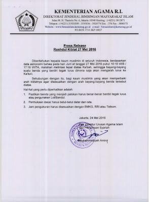 Press Release Rashdul Kiblat 27 Mei 2016