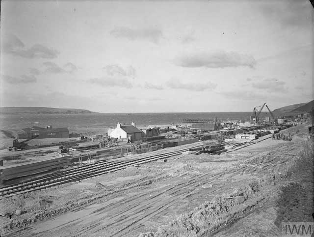 Port construction at Loch Ryan, Scotland, 13 February 1942 worldwartwo.filminspector.com