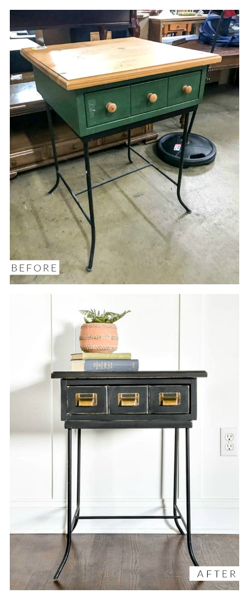 Before and after of black painted side table makeover