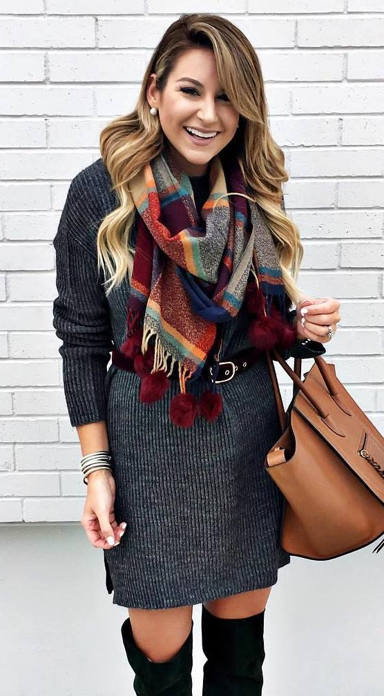 awesome outfit idea / grey dress + scarf + bag + over knee boots