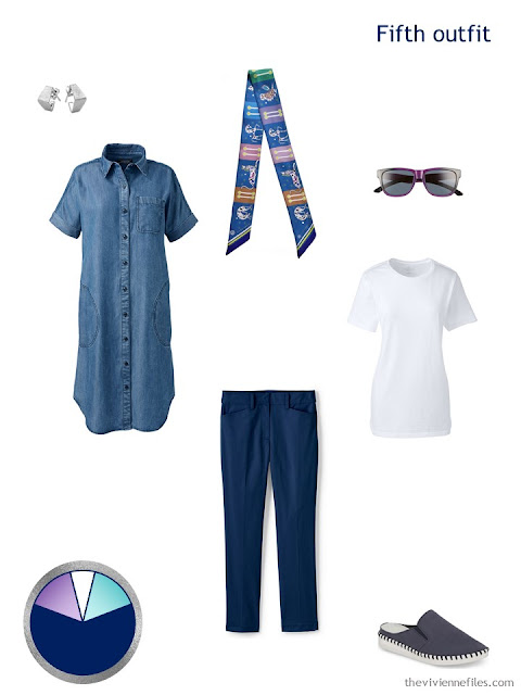 white tee, navy capris and a denim duster, with accessories