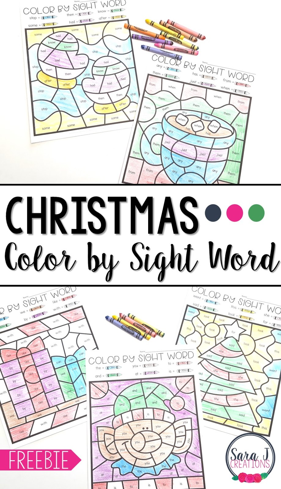 Christmas Color by Sight Word Sara J Creations