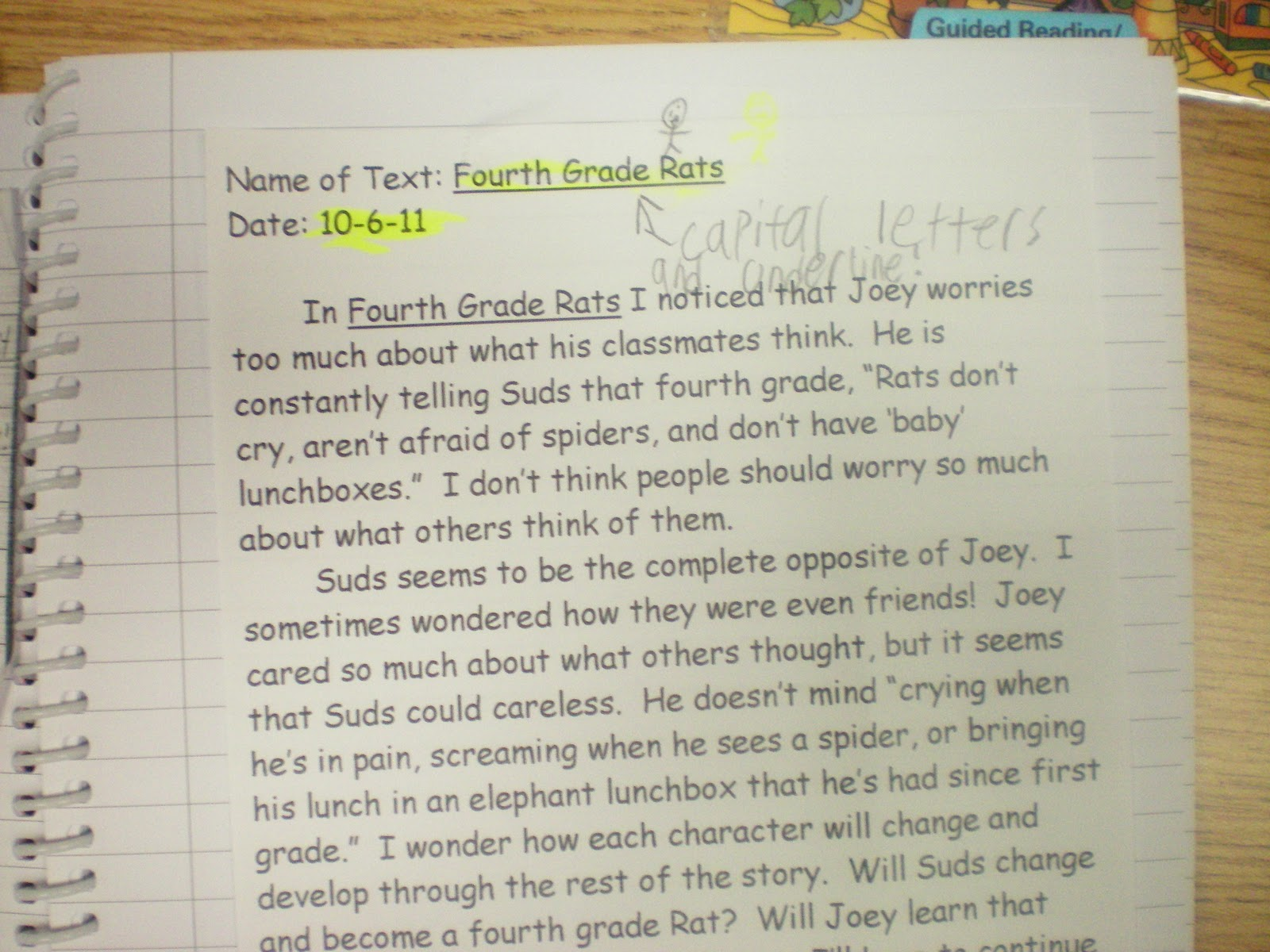 After Gym, students finished up their snack and tackled their Thoughtful  Reading Response (TRR) on Fourth Grade Rats. By next week students will  have a ...
