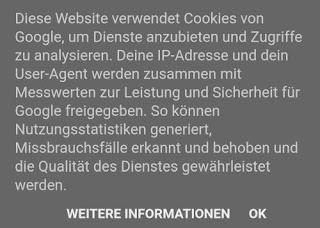 Unzureichender, irreführender Text auf dem Cookie-Banner von Google