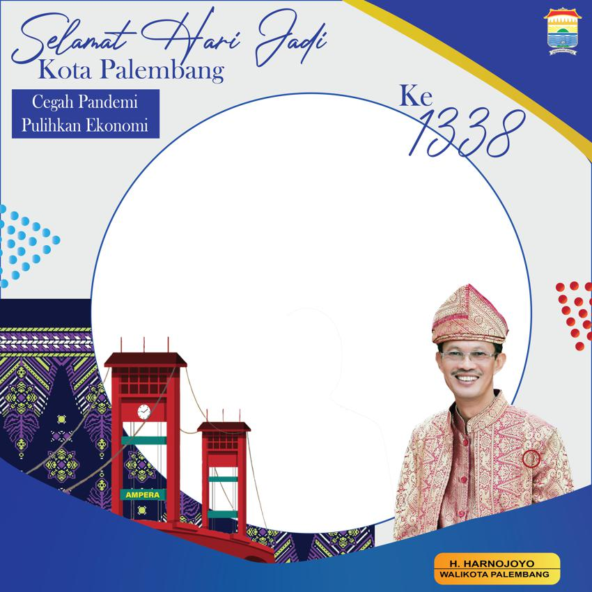Desain Frame atau Bingkai Twibbon Ulang Tahun ke-1338 Kota Palembang 2021 - Walikota Palembang