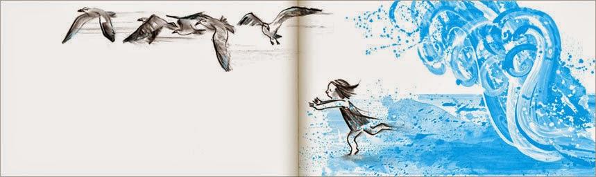 Una muestra más de páginas interiores del cuento La Ola ilustrado por Suzy Lee