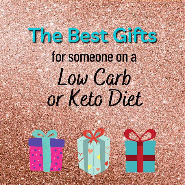 "Main image: glitter background with text ""The Best Gifts for someone on a Low Carb or Keto Diet"""