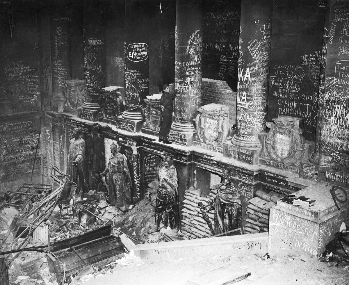 Soviet troops scrawled graffiti in the Reichstag after they took Berlin in 1945.