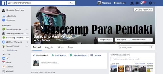 grup facebook basecamp para pendaki