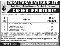 ZTBL Careers 2019, ZTBL Jobs 2019, ZTBL Latest Jobs April 2019