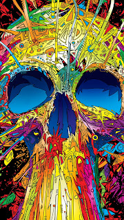 Abstract Multicolored Skull Mobile HD Wallpaper