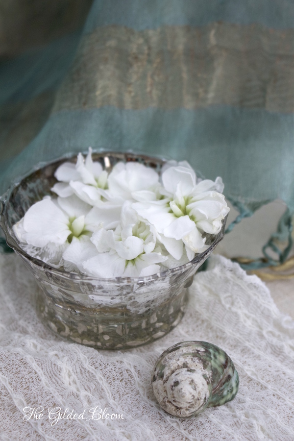 Bowl of Blossoms and Shell- www.gildedbloom.com