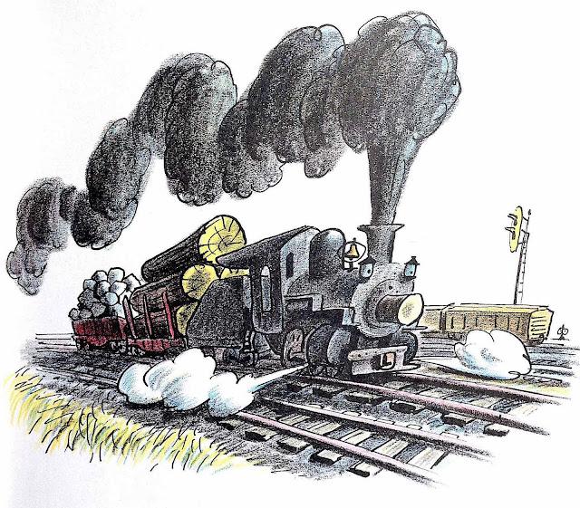 a Bill Peet children's book illustration of a locomotive at hard work