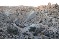 Looking northeast across the canyon toward where I was exploring, Desert Queen Mine, Joshua Tree National Park