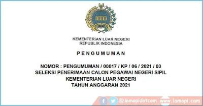 Download Rincian Formasi CPNS Kementerian Luar Negeri RI Tahun 2021