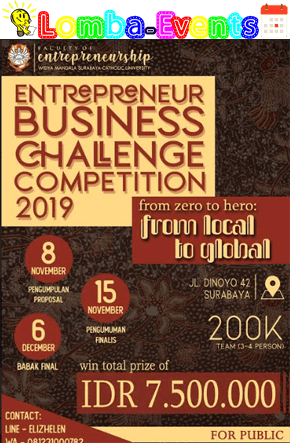 Lomba Bisnis Plan Nasional Entrepreneur Business Challenge EBCC 2019 Mahasiswa