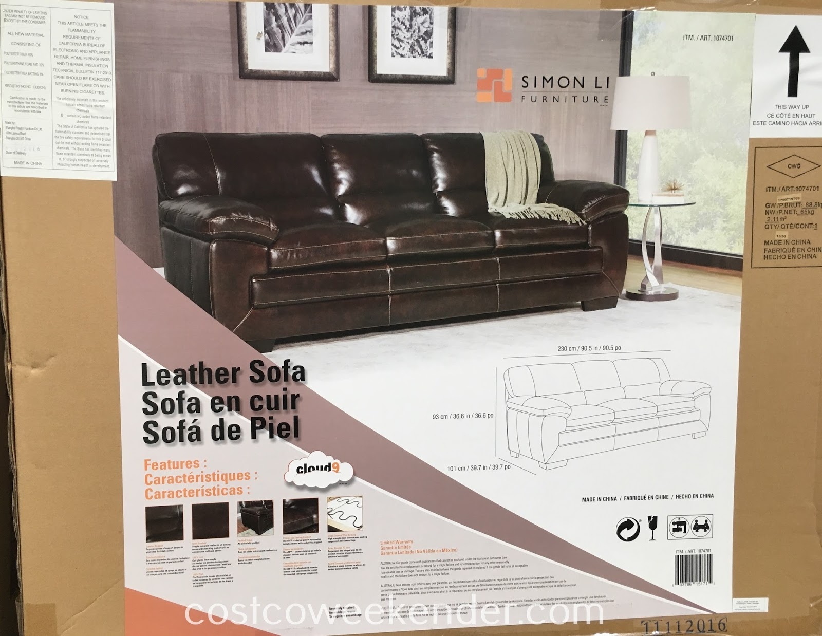sofa costco ca shabby chic cushions simon li furniture leather weekender