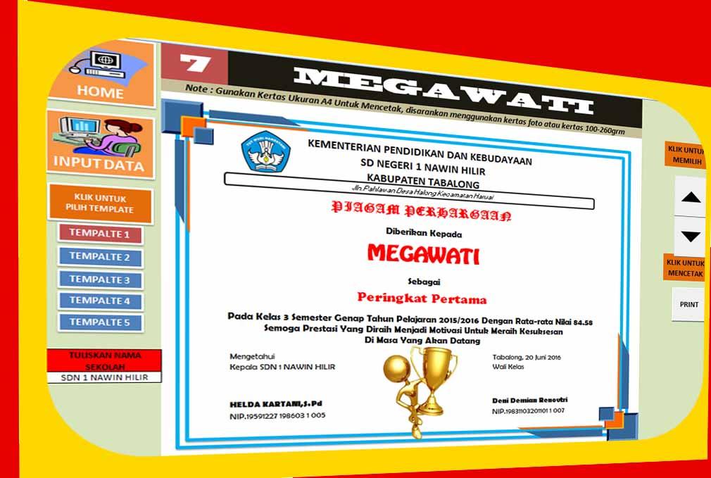 Aplikasi Cetak Piagam Penghargaan Berbasis Excel Untuk Siswa Juara Kelas Data Sekolah
