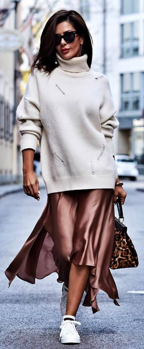 ootd / oversized sweater + silk midi skirt + bag + sneakers
