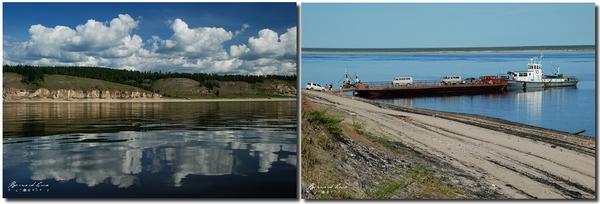 Bernard Grua, bac sur le fleuve Léna, Iakoutie, Sibérie