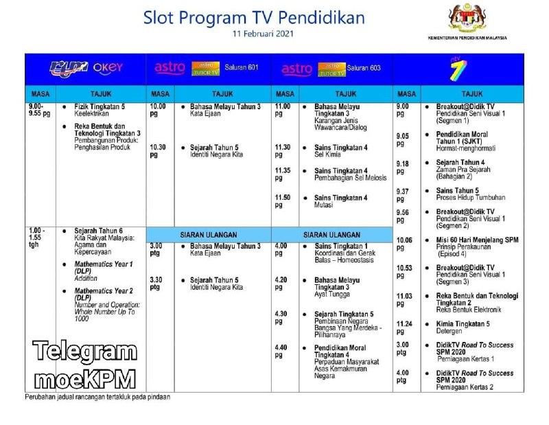 Jadual Slot Program TV Pendidikan 11 Februari 2021