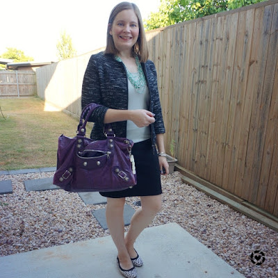 awayfromblue Instagram | summer office outfit with metallic tank and boucle blazer purple balenciaga work bag
