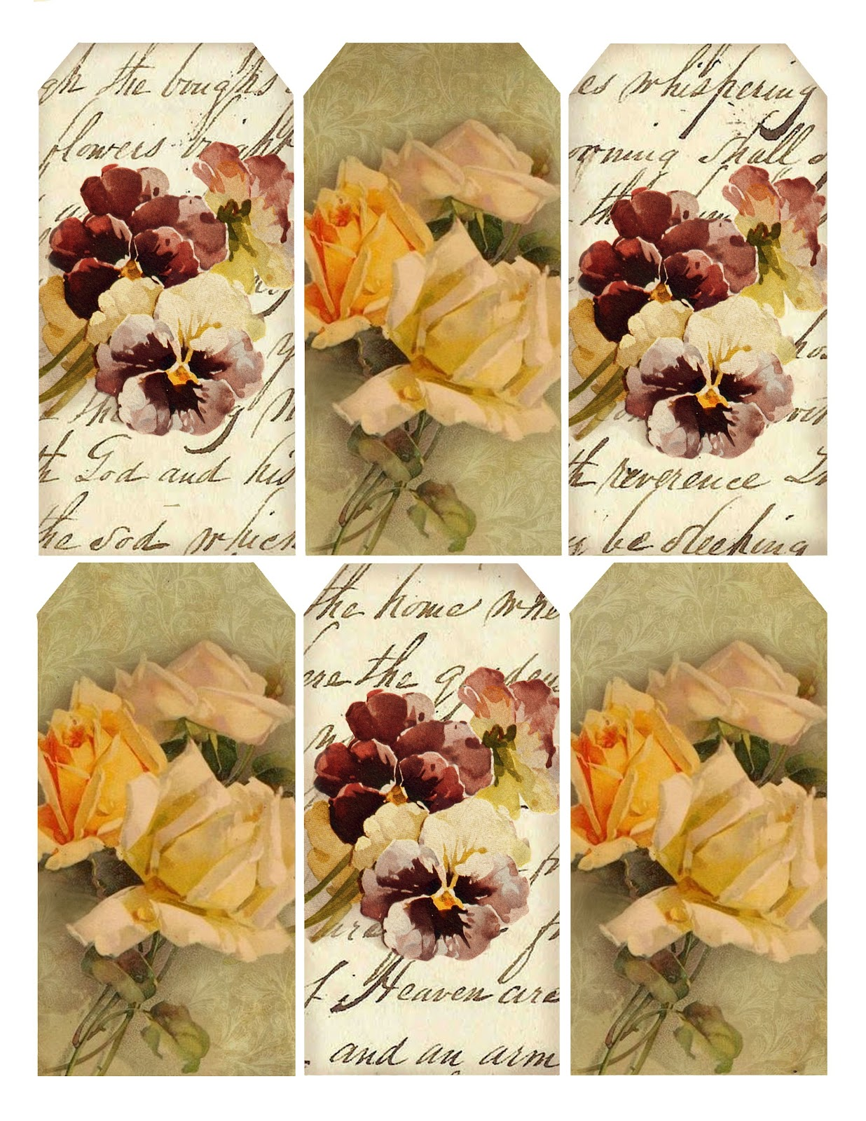 Paper Crafts Vintage Pieces For Collage Altered Art Floral Hang Tags