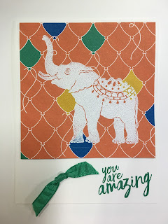 This card uses Stampin' Up!'s Lucky Elephant stamp set.  It's heat embossed in White Embossing Powder on the Party Animal Designer paper!  #stampinup #stamptherapist www.stampwithjennifer.blogspot.com