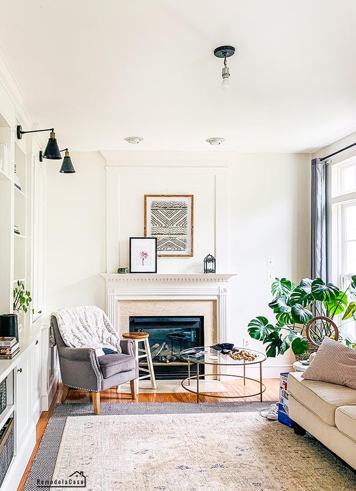 white and blue family room decor