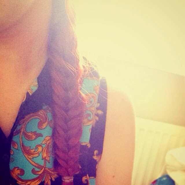 close up of fishtail braid in hair