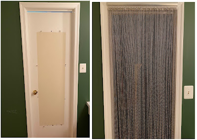 Side by side photos of a doorway in a green wall. On the left is a white door with errant mirror-hanging hardware and a non-painted square int he middle of it; on the right, the door is gone and a curtain of long metal bead strands covers the opening.