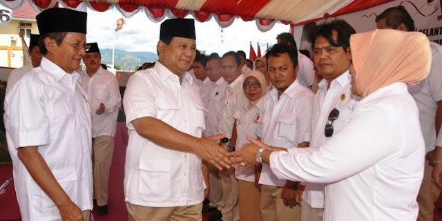 Prabowo Subianto saat berkunjung ke Palu