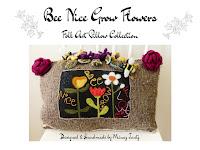 Folk Art Pillow Be Nice Grow Flowers designed by Minaz Jantz