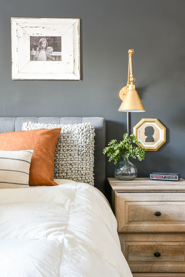 High contrast, modern farmhouse bedroom