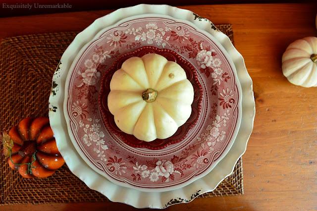 Mini White Pumpkin On A Red Plate