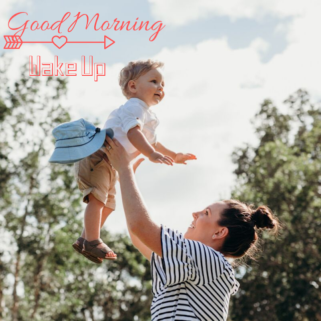 Jumping Baby with mother Good Morning Images