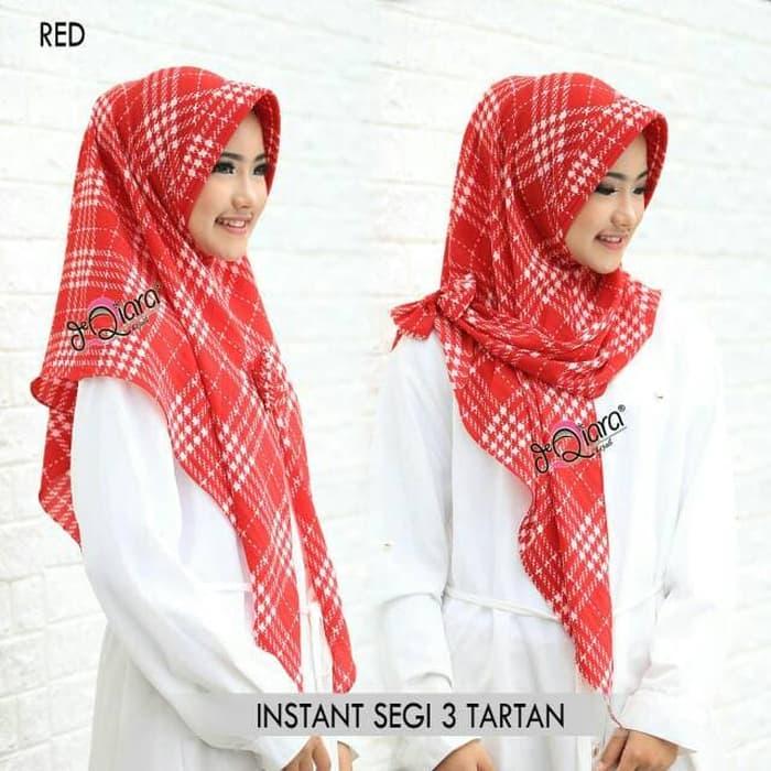 Jilbab SEGI EMPAT Instan Motif TARTAN Kotak-Kotak Cantik Warna Merah