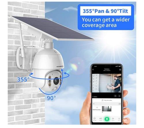 INQMEGA Solar Battery Powered Outdoor PTZ IP-Camera