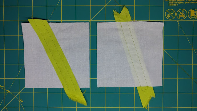 Sewing bias strips in preparation of using the Olfa chenille cutter
