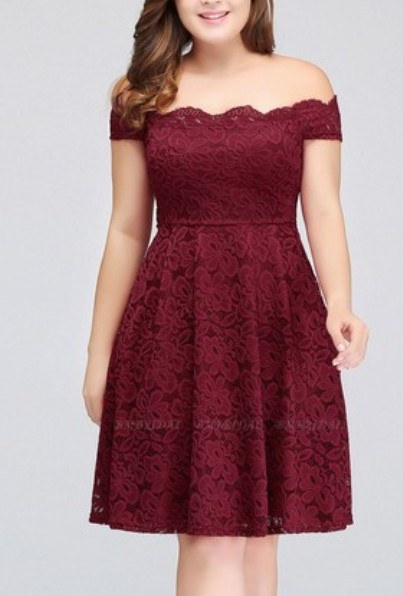 Plus Size Off-the-Shoulder Sleeveless Short Bridesmaid Dress– Price: US$ 99.00