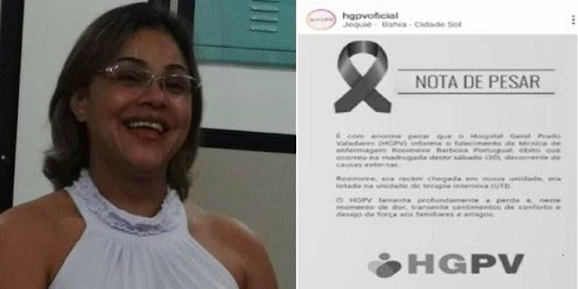 Técnica de Enfermagem do Hospital Prado Valadares encontrada morta dentro de casa em Jaguaquara