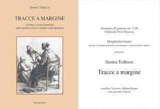 """PRESENTAZIONE DEL LIBRO DI SERENA TODESCO """"TRACCE A MARGINE"""""""
