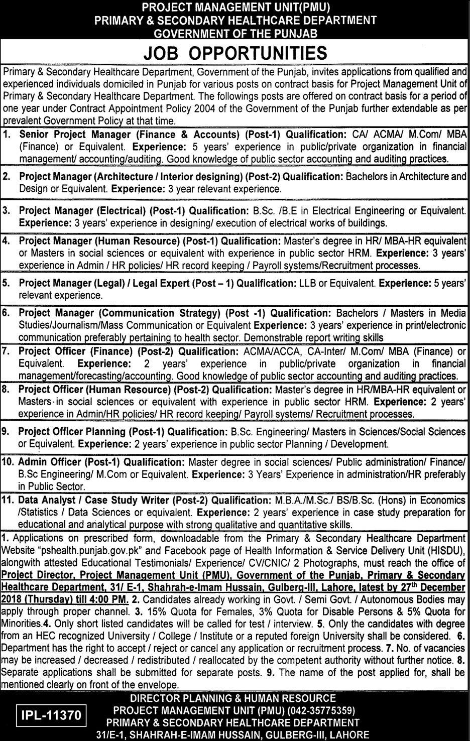 Jobs Vacancies In Primary And Secondary Healthcare Department 08 December 2018