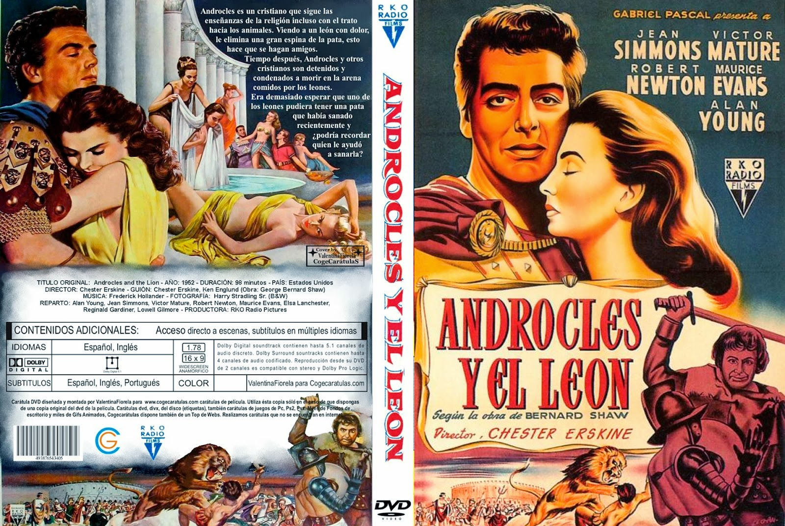 Caratula: Androcles y el león (1952)(Androcles and the Lion)