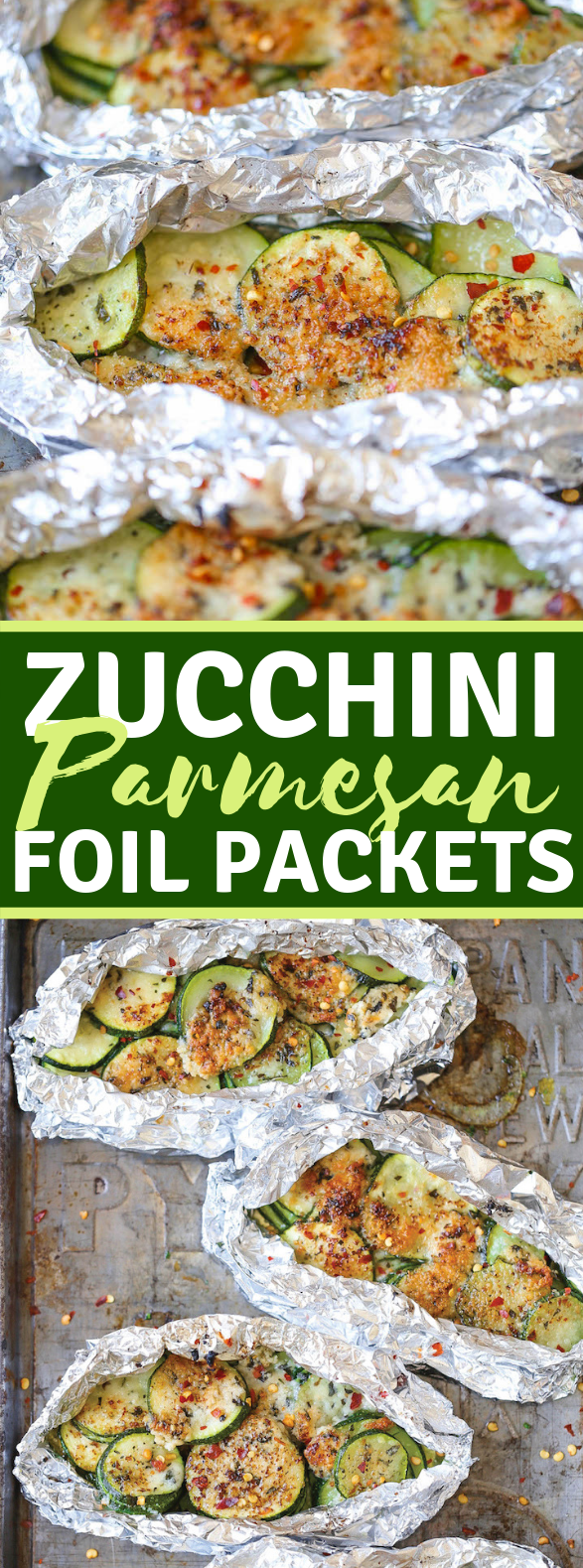 ZUCCHINI PARMESAN FOIL PACKETS #vegetarian #dinner