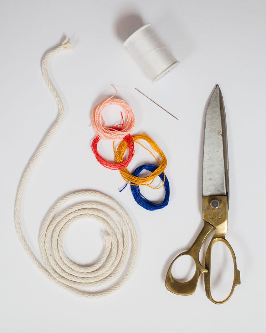 como hacer un collar de cuerda de algodón