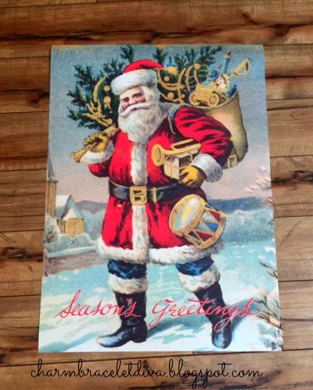 DIY vintage-inspired hanging poster wall art Santa